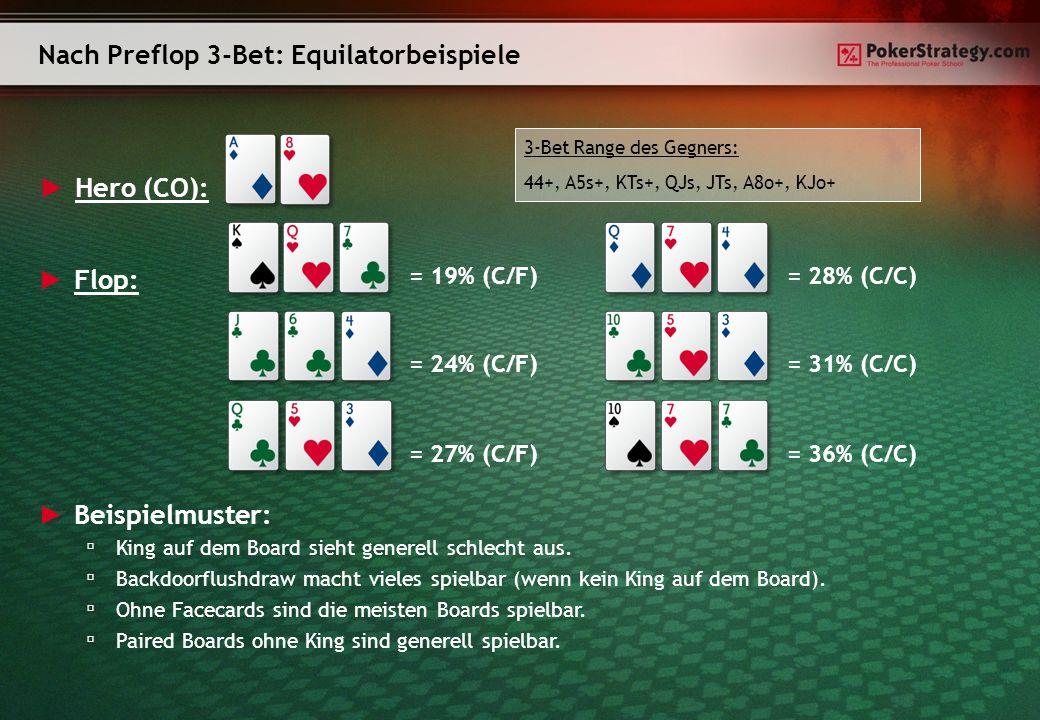 Hero (CO): Equity gegen verschiedene 3-Bet Ranges: A: 44+, A5s+, KTs+, QJs, JTs, A8o+, KJo+ -> Equity: 26% B: 55+, A6s+, KJs+, QJs, A8o+, KQo -> Equity: 19% C: 22+, A2s+, KTs+, QTs+, J9s+, T9s, 98s, 87s, A6o+, KTo+, QJo -> Equity: 32% Als Default solltest du vom Pokerstrategy 3-Bet-Chart ausgehen.