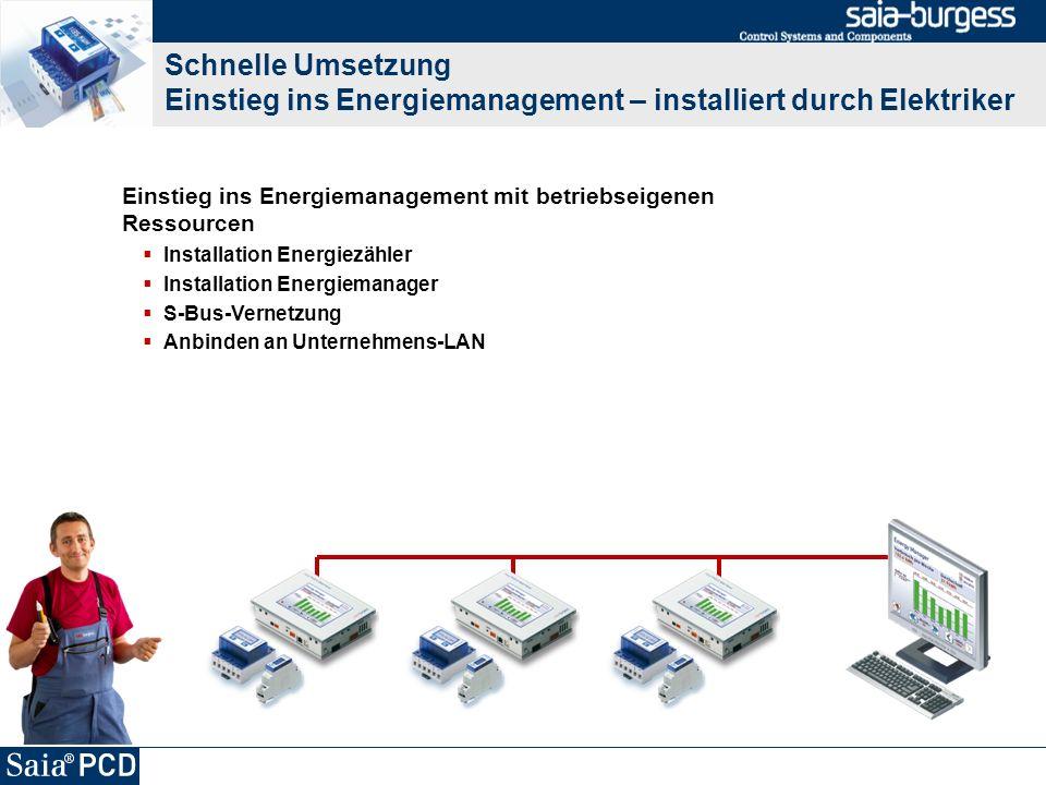 Schnelle Umsetzung Einstieg ins Energiemanagement – installiert durch Elektriker Einstieg ins Energiemanagement mit betriebseigenen Ressourcen Install