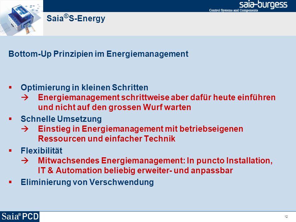 12 Saia ® S-Energy Bottom-Up Prinzipien im Energiemanagement Optimierung in kleinen Schritten Energiemanagement schrittweise aber dafür heute einführe