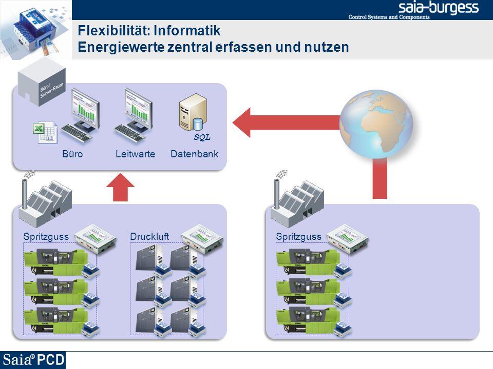 Flexibilität: Informatik Energiewerte zentral erfassen und nutzen SpritzgussDruckluft BüroLeitwarte Datenbank SQL Spritzguss