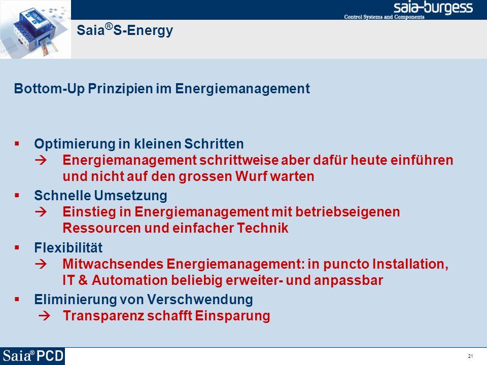 21 Saia ® S-Energy Bottom-Up Prinzipien im Energiemanagement Optimierung in kleinen Schritten Energiemanagement schrittweise aber dafür heute einführe