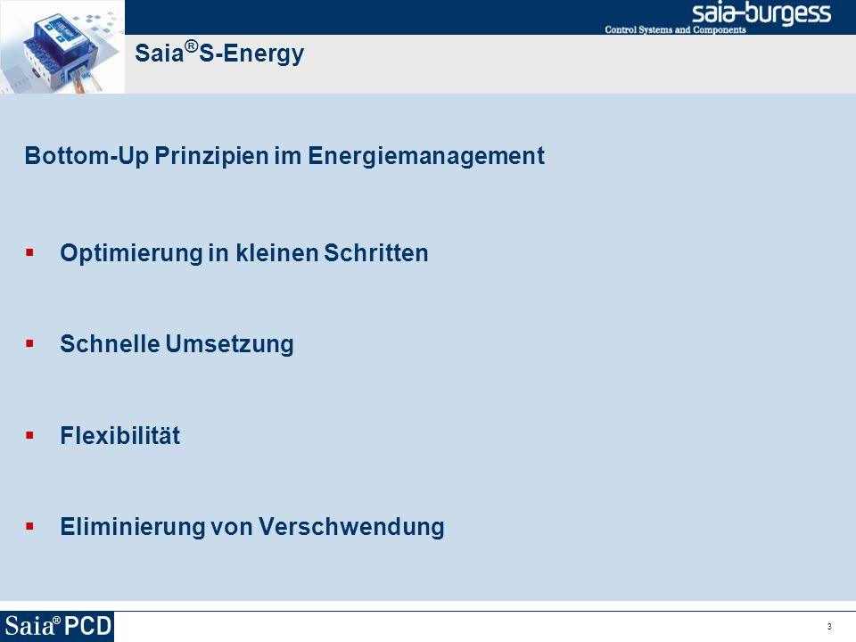 4 Saia ® S-Energy Bottom-Up Prinzipien im Energiemanagement Optimierung in kleinen Schritten Energiemanagement schrittweise aber dafür heute einführen und nicht auf den grossen Wurf warten Schnelle Umsetzung Flexibilität Eliminierung von Verschwendung