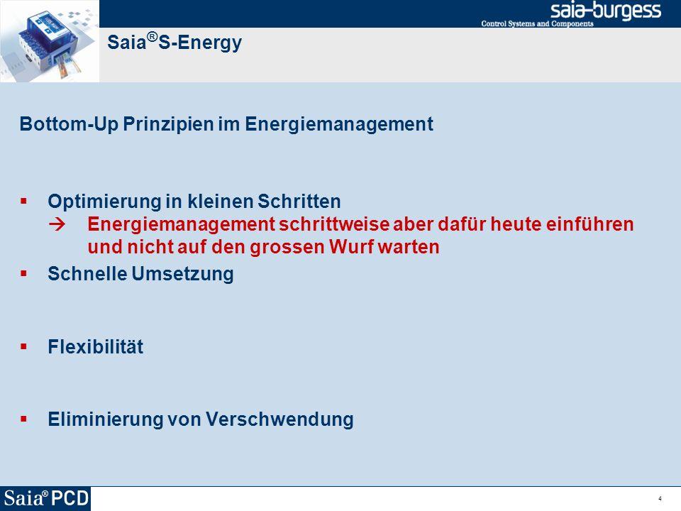 4 Saia ® S-Energy Bottom-Up Prinzipien im Energiemanagement Optimierung in kleinen Schritten Energiemanagement schrittweise aber dafür heute einführen