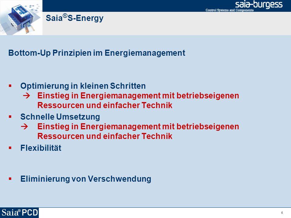 6 Saia ® S-Energy Bottom-Up Prinzipien im Energiemanagement Optimierung in kleinen Schritten Einstieg in Energiemanagement mit betriebseigenen Ressour