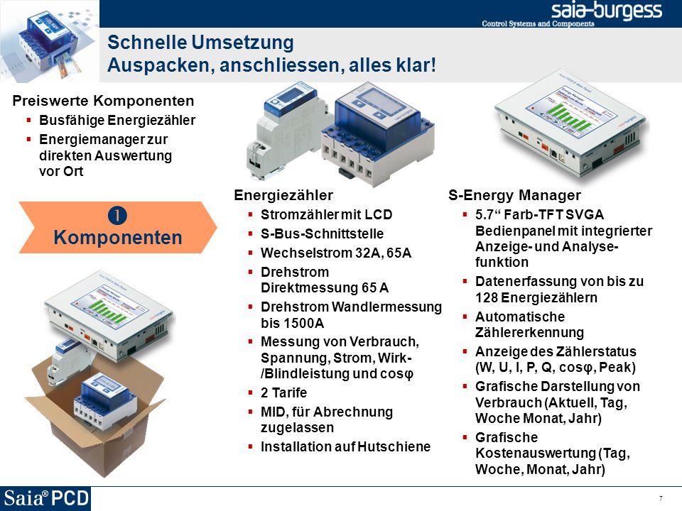 Schnelle Umsetzung Auspacken, anschliessen, alles klar! 7 Preiswerte Komponenten Busfähige Energiezähler Energiemanager zur direkten Auswertung vor Or