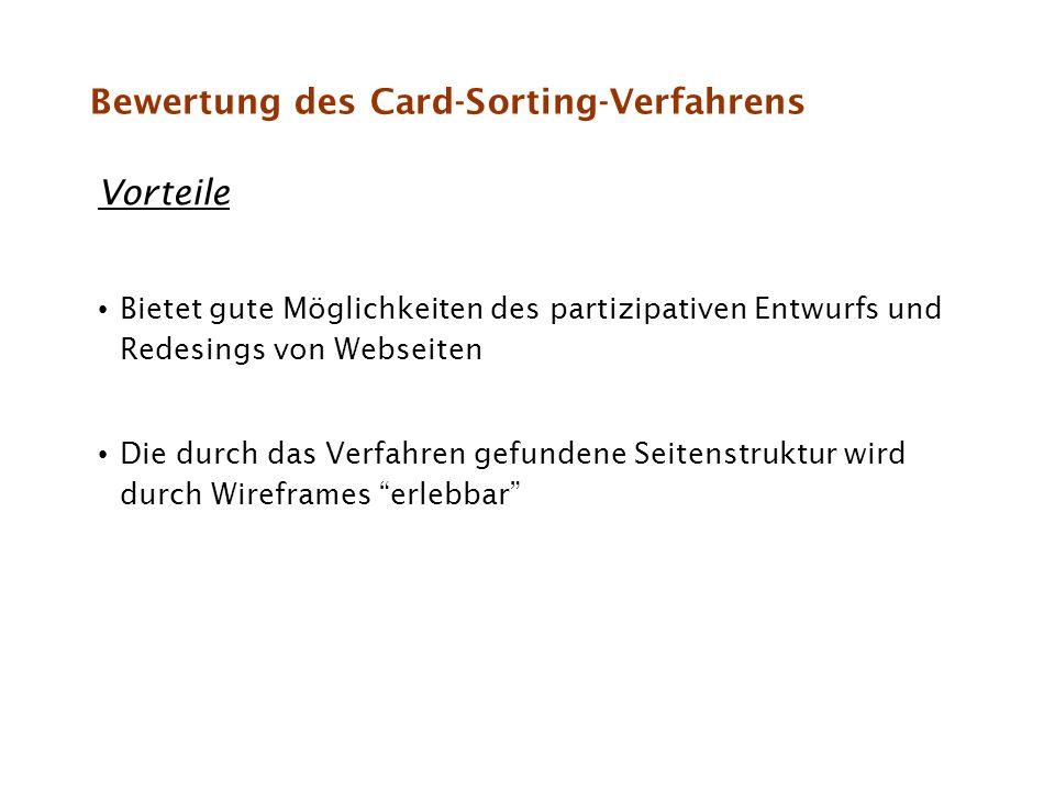 Bewertung des Card-Sorting-Verfahrens Vorteile Bietet gute Möglichkeiten des partizipativen Entwurfs und Redesings von Webseiten Die durch das Verfahr