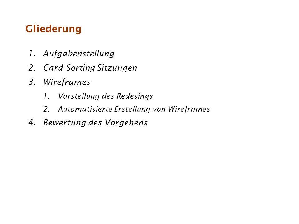 Gliederung 1.Aufgabenstellung 2.Card-Sorting Sitzungen 3.Wireframes 1.Vorstellung des Redesings 2.Automatisierte Erstellung von Wireframes 4.Bewertung