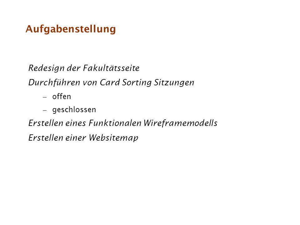 Aufgabenstellung Redesign der Fakultätsseite Durchführen von Card Sorting Sitzungen – offen – geschlossen Erstellen eines Funktionalen Wireframemodell
