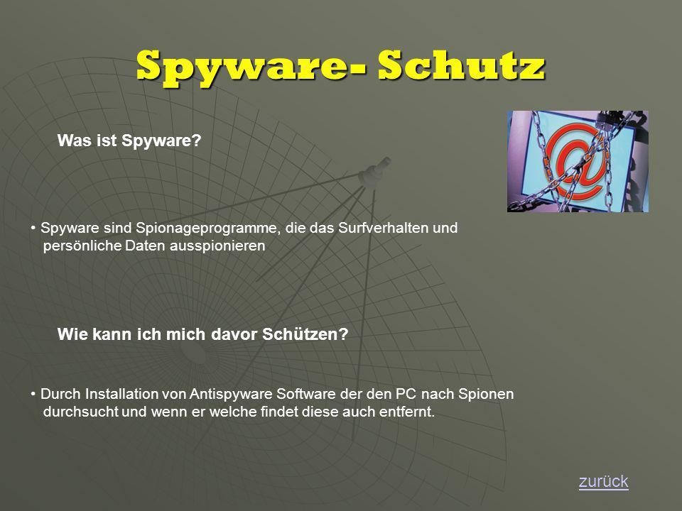 Spyware- Schutz zurück Was ist Spyware.