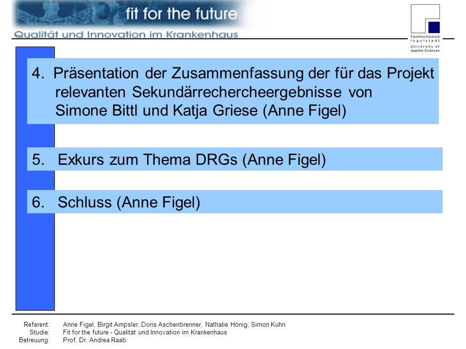 Referent: Studie: Betreuung: Anne Figel, Birgit Ampsler, Doris Aschenbrenner, Nathalie Hönig, Simon Kuhn Fit for the future - Qualität und Innovation