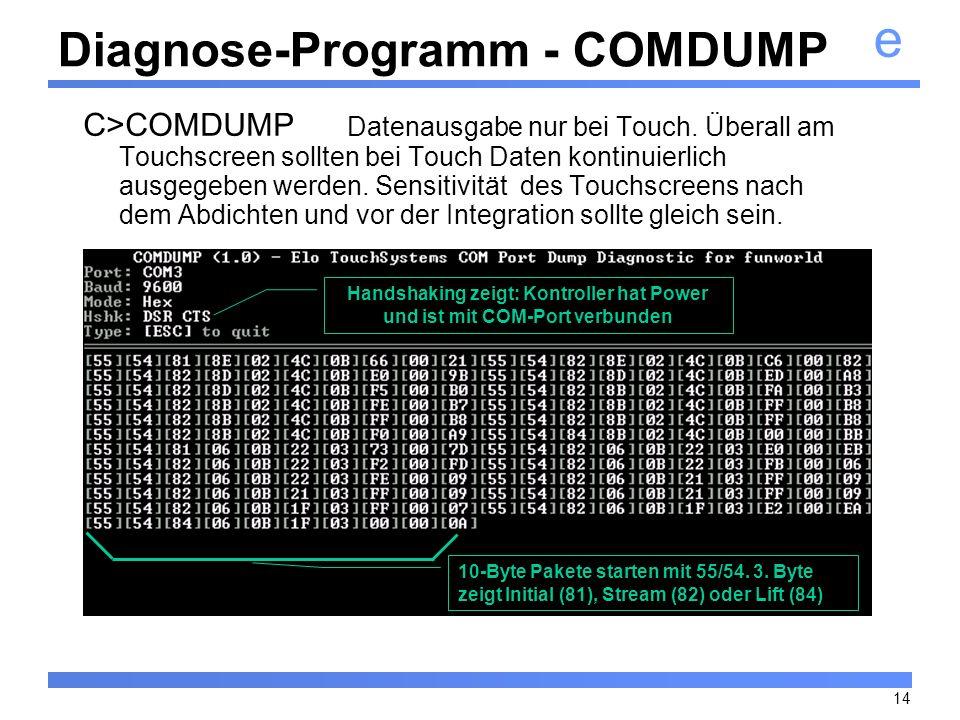 e 14 Diagnose-Programm - COMDUMP C>COMDUMP Datenausgabe nur bei Touch. Überall am Touchscreen sollten bei Touch Daten kontinuierlich ausgegeben werden