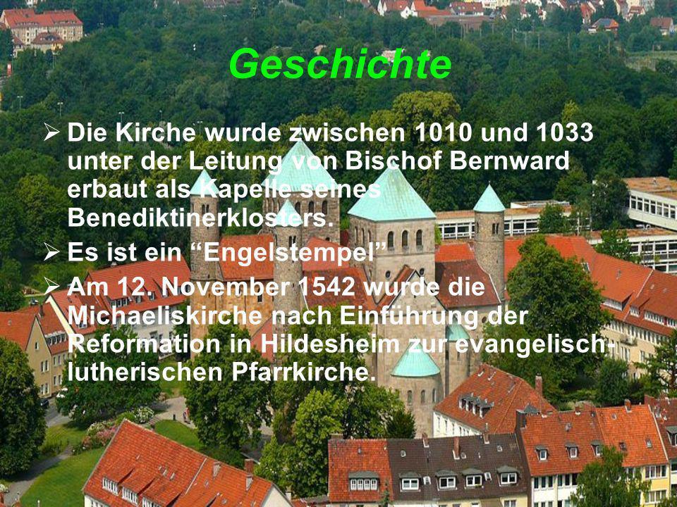 Geschichte Die Kirche wurde zwischen 1010 und 1033 unter der Leitung von Bischof Bernward erbaut als Kapelle seines Benediktinerklosters. Es ist ein E