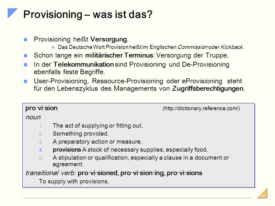 SiG Checkliste Referenzkundenbesuch (2) Workflowkomponente Festlegung von Gültigkeitszeiträume (von Accounts, Benutzern etc.) und davon abhängigen Regeln Konsistenzprüfungen innerhalb der Prozesse (relevant für Stammdatenänderung zur Laufzeit) wie zum Beispiel Behandlung von Genehmigeränderung während Prozesslaufzeit Loggingmöglichkeiten, Revisionsinformationen mehrfach nutzbare Prozesse / Prozessblöcke Prozess-Synchronisation (Behandlung voneinander abhängiger Anträge, z.B.