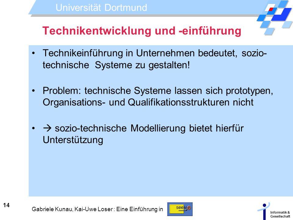 Universität Dortmund Informatik & Gesellschaft 14 Gabriele Kunau, Kai-Uwe Loser : Eine Einführung in Technikentwicklung und -einführung Technikeinführ