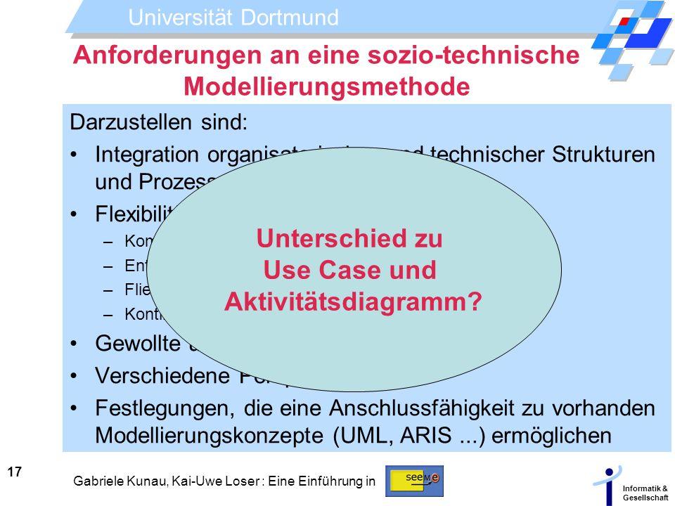 Universität Dortmund Informatik & Gesellschaft 17 Gabriele Kunau, Kai-Uwe Loser : Eine Einführung in Anforderungen an eine sozio-technische Modellieru