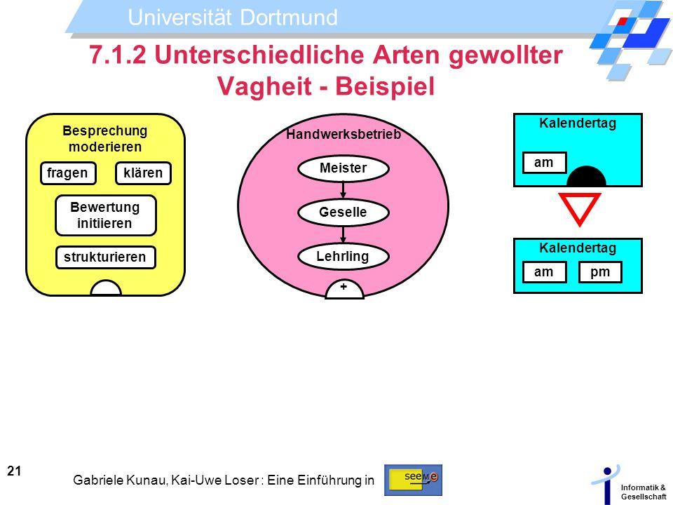 Universität Dortmund Informatik & Gesellschaft 21 Gabriele Kunau, Kai-Uwe Loser : Eine Einführung in 7.1.2 Unterschiedliche Arten gewollter Vagheit -
