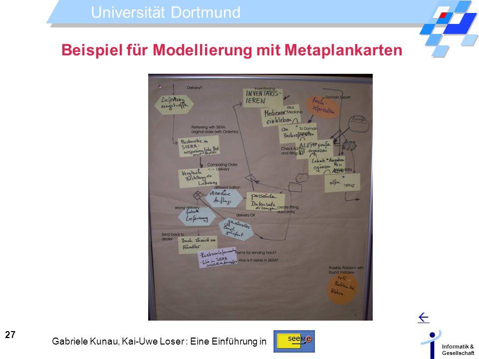 Universität Dortmund Informatik & Gesellschaft 27 Gabriele Kunau, Kai-Uwe Loser : Eine Einführung in Beispiel für Modellierung mit Metaplankarten