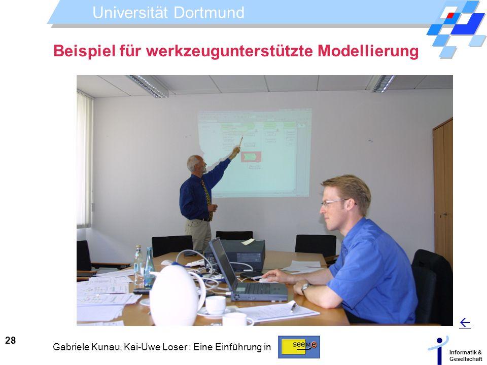 Universität Dortmund Informatik & Gesellschaft 28 Gabriele Kunau, Kai-Uwe Loser : Eine Einführung in Beispiel für werkzeugunterstützte Modellierung