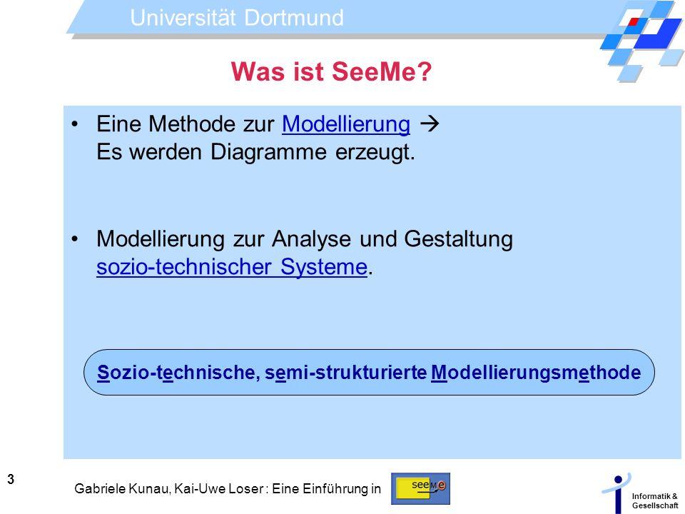 Universität Dortmund Informatik & Gesellschaft 3 Gabriele Kunau, Kai-Uwe Loser : Eine Einführung in Was ist SeeMe? Eine Methode zur Modellierung Es we