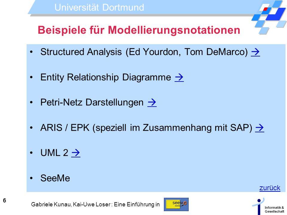 Universität Dortmund Informatik & Gesellschaft 6 Gabriele Kunau, Kai-Uwe Loser : Eine Einführung in Beispiele für Modellierungsnotationen Structured A