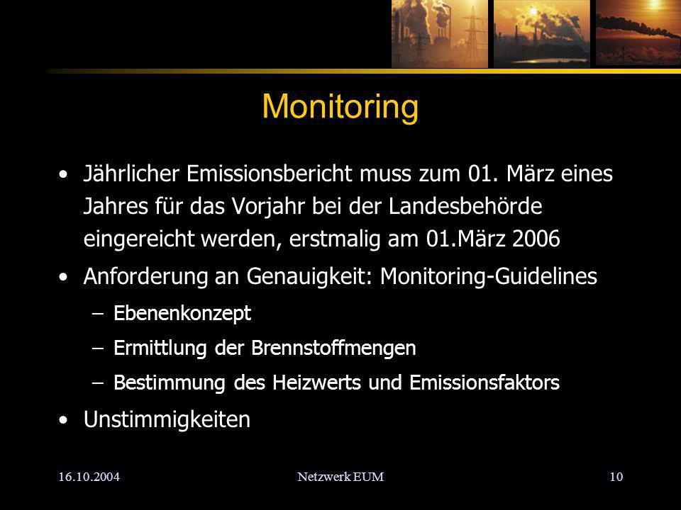 16.10.2004Netzwerk EUM10 Monitoring Jährlicher Emissionsbericht muss zum 01.