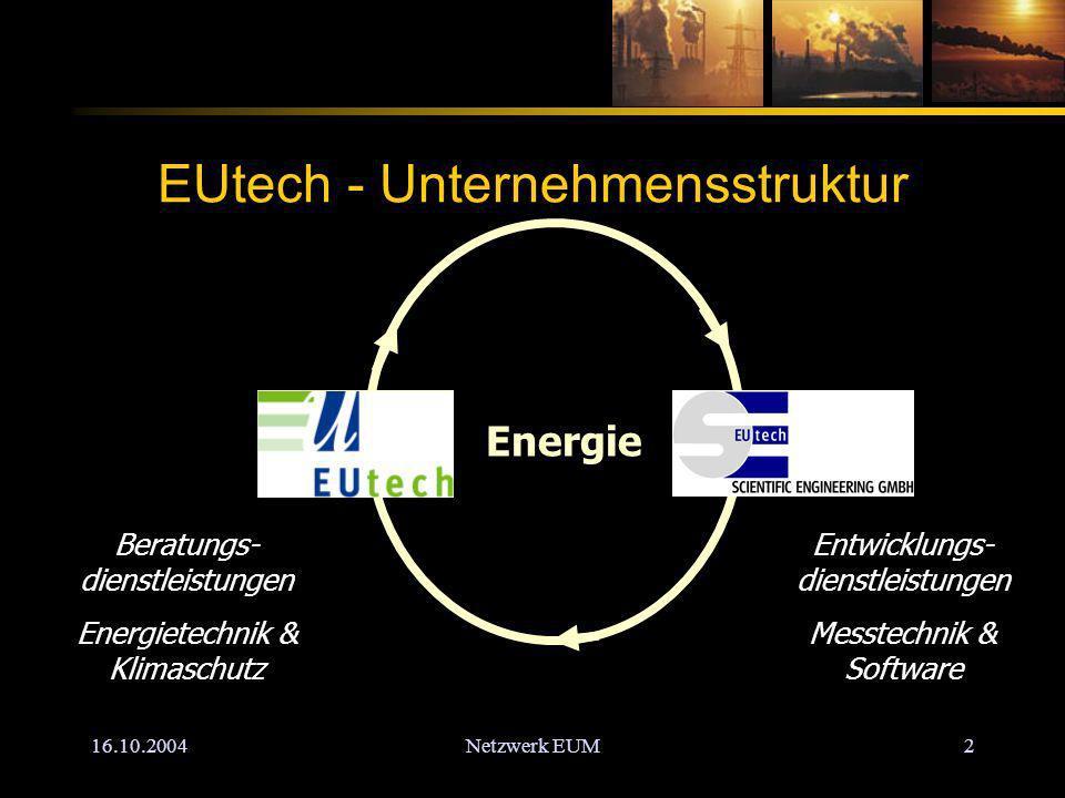 Netzwerk EUM2 EUtech - Unternehmensstruktur Entwicklungs- dienstleistungen Messtechnik & Software Beratungs- dienstleistungen Energietechnik & Klimaschutz Energie