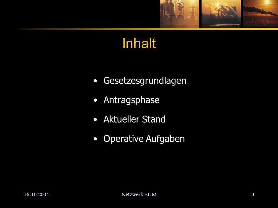 16.10.2004Netzwerk EUM3 Inhalt Gesetzesgrundlagen Antragsphase Aktueller Stand Operative Aufgaben