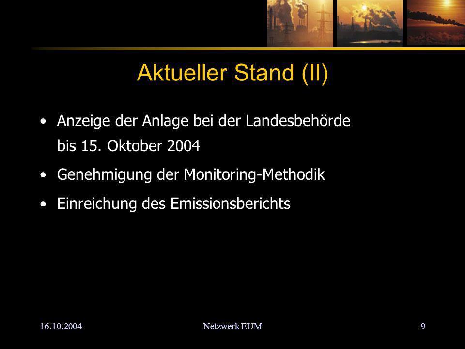 16.10.2004Netzwerk EUM9 Aktueller Stand (II) Anzeige der Anlage bei der Landesbehörde bis 15.
