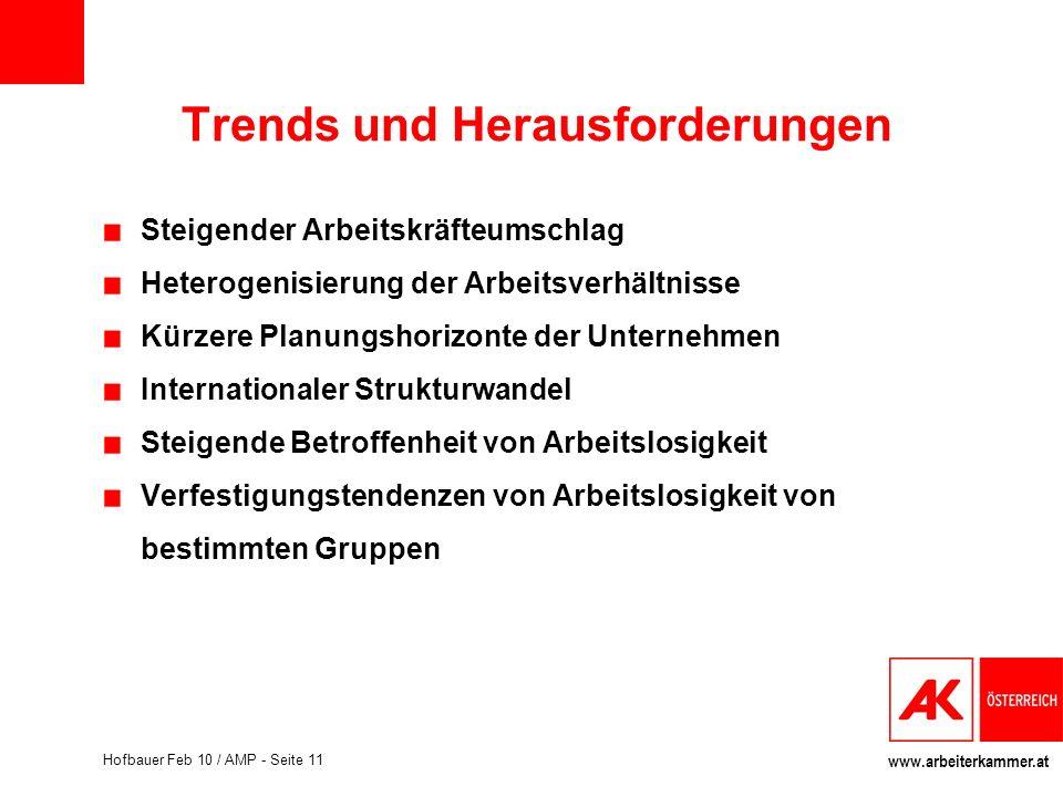www.arbeiterkammer.at Hofbauer Feb 10 / AMP - Seite 11 Trends und Herausforderungen Steigender Arbeitskräfteumschlag Heterogenisierung der Arbeitsverh