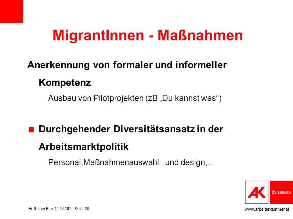 www.arbeiterkammer.at Hofbauer Feb 10 / AMP - Seite 20 MigrantInnen - Maßnahmen Anerkennung von formaler und informeller Kompetenz Ausbau von Pilotpro