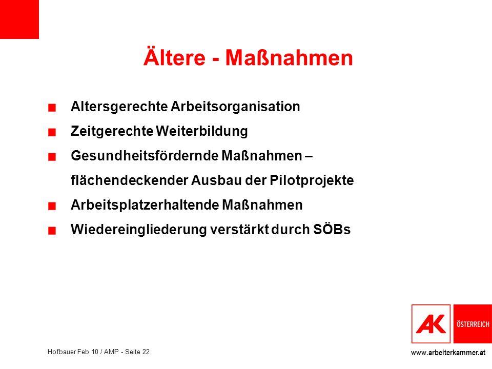 www.arbeiterkammer.at Hofbauer Feb 10 / AMP - Seite 22 Ältere - Maßnahmen Altersgerechte Arbeitsorganisation Zeitgerechte Weiterbildung Gesundheitsför
