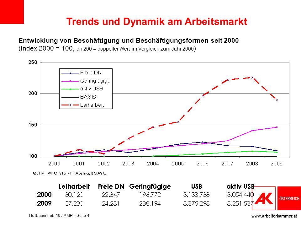 www.arbeiterkammer.at Hofbauer Feb 10 / AMP - Seite 4 Entwicklung von Beschäftigung und Beschäftigungsformen seit 2000 (Index 2000 = 100, dh 200 = dop