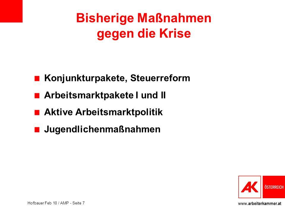 www.arbeiterkammer.at Hofbauer Feb 10 / AMP - Seite 7 Bisherige Maßnahmen gegen die Krise Konjunkturpakete, Steuerreform Arbeitsmarktpakete I und II A