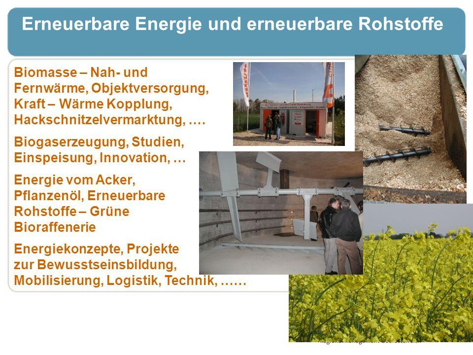 Erneuerbare Energie und erneuerbare Rohstoffe Biomasse – Nah- und Fernwärme, Objektversorgung, Kraft – Wärme Kopplung, Hackschnitzelvermarktung,.… Bio