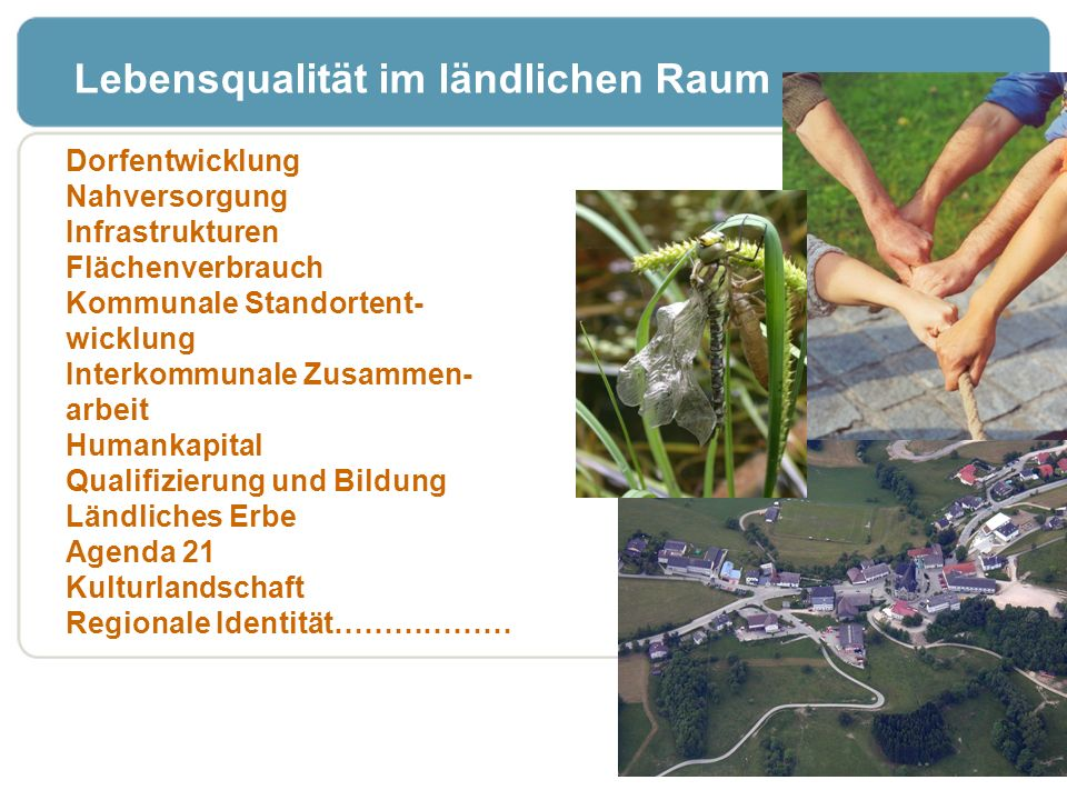 Dorfentwicklung Nahversorgung Infrastrukturen Flächenverbrauch Kommunale Standortent- wicklung Interkommunale Zusammen- arbeit Humankapital Qualifizie