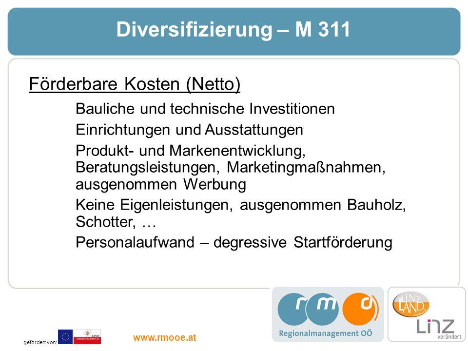 Diversifizierung – M 311 Förderbare Kosten (Netto) Bauliche und technische Investitionen Einrichtungen und Ausstattungen Produkt- und Markenentwicklun