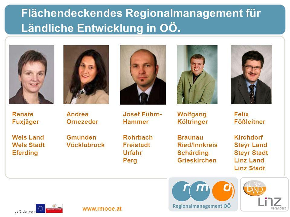 Flächendeckendes Regionalmanagement für Ländliche Entwicklung in OÖ. Andrea Ornezeder Gmunden Vöcklabruck Josef Führn- Hammer Rohrbach Freistadt Urfah