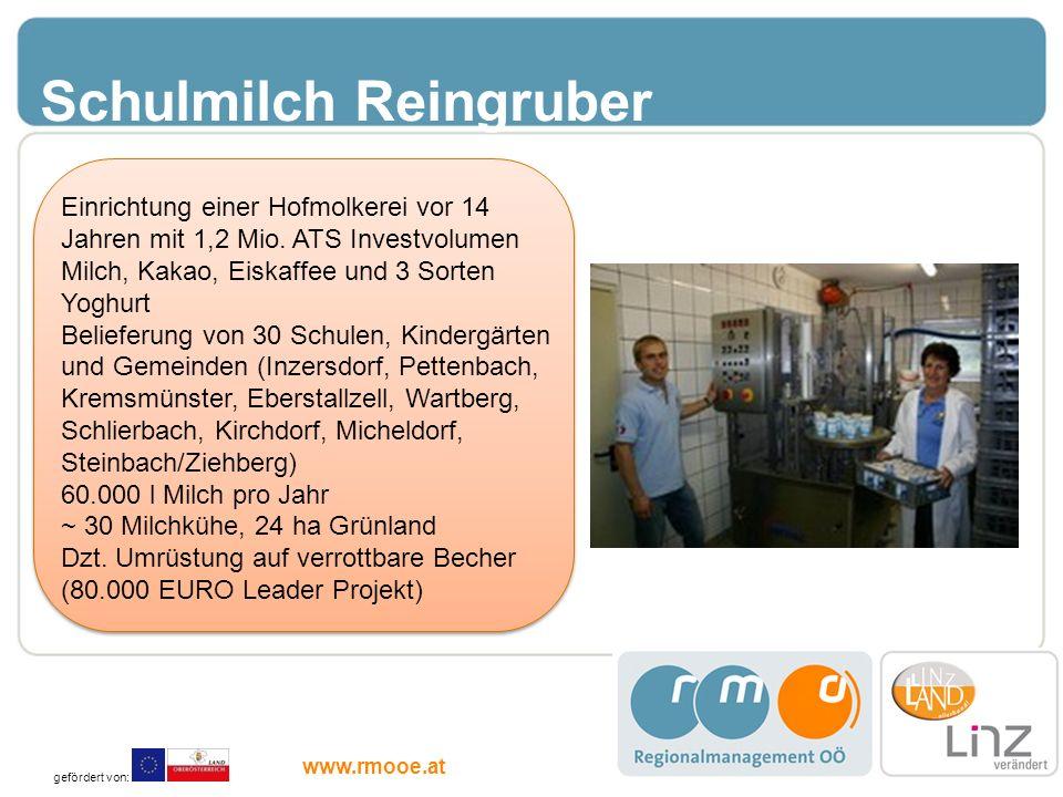 Schulmilch Reingruber Einrichtung einer Hofmolkerei vor 14 Jahren mit 1,2 Mio. ATS Investvolumen Milch, Kakao, Eiskaffee und 3 Sorten Yoghurt Beliefer
