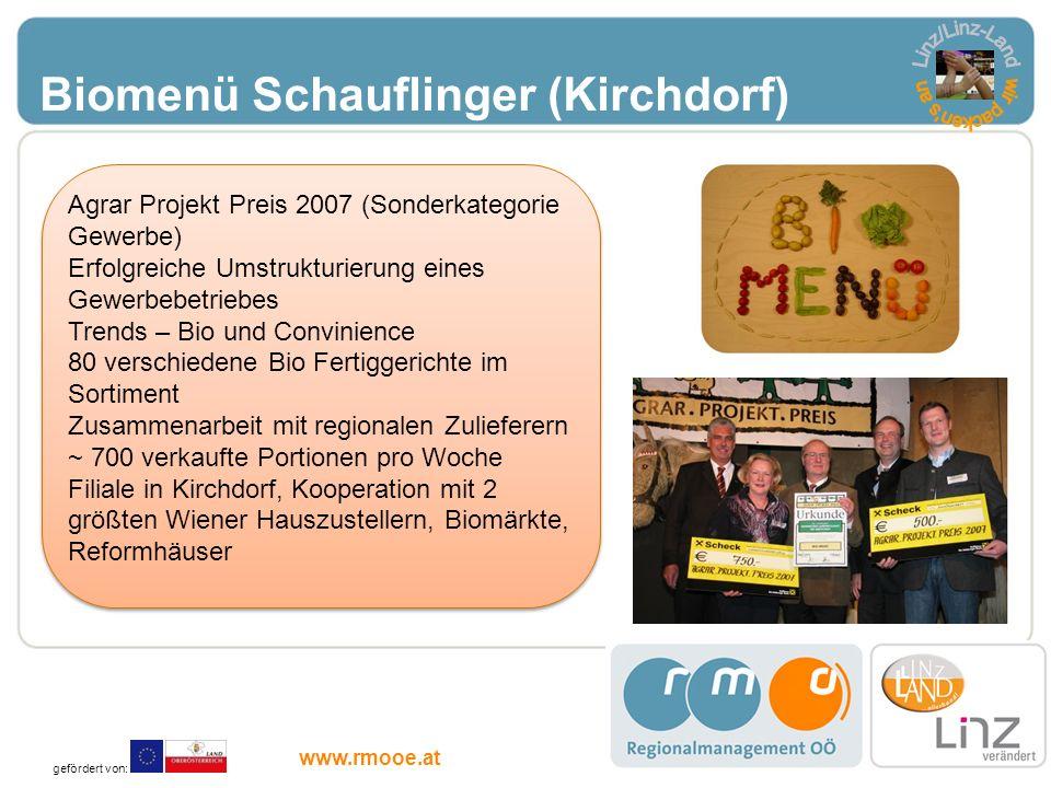 Biomenü Schauflinger (Kirchdorf) Agrar Projekt Preis 2007 (Sonderkategorie Gewerbe) Erfolgreiche Umstrukturierung eines Gewerbebetriebes Trends – Bio
