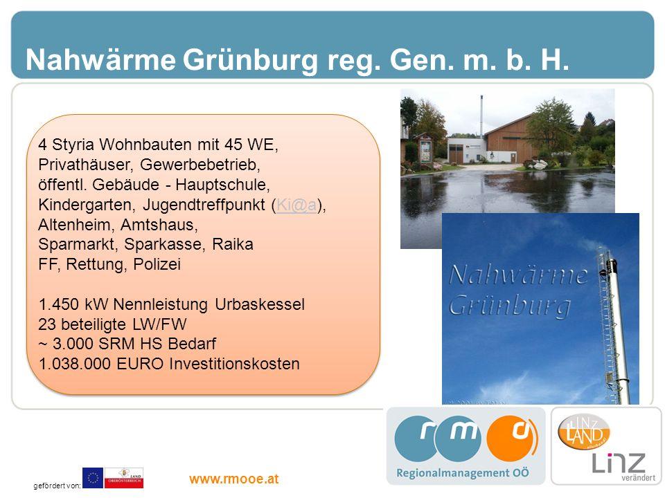 Nahwärme Grünburg reg. Gen. m. b. H. 4 Styria Wohnbauten mit 45 WE, Privathäuser, Gewerbebetrieb, öffentl. Gebäude - Hauptschule, Kindergarten, Jugend
