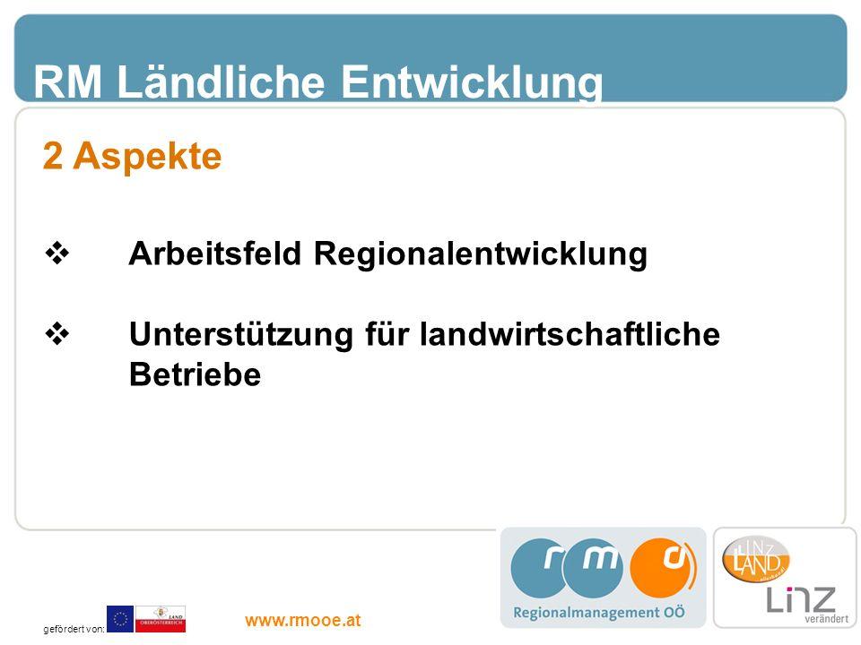 RM Ländliche Entwicklung 2 Aspekte Arbeitsfeld Regionalentwicklung Unterstützung für landwirtschaftliche Betriebe gefördert von: www.rmooe.at