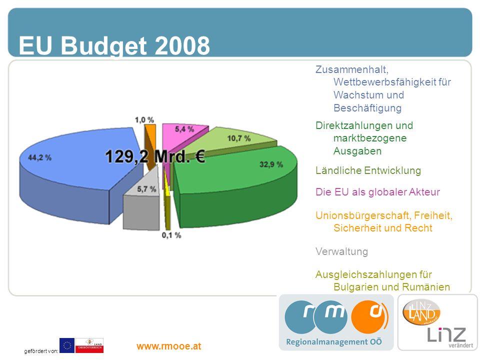 EU Budget 2008 Zusammenhalt, Wettbewerbsfähigkeit für Wachstum und Beschäftigung Direktzahlungen und marktbezogene Ausgaben Ländliche Entwicklung Die