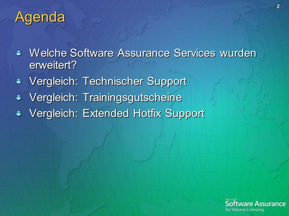 2 Agenda Welche Software Assurance Services wurden erweitert? Vergleich: Technischer Support Vergleich: Trainingsgutscheine Vergleich: Extended Hotfix