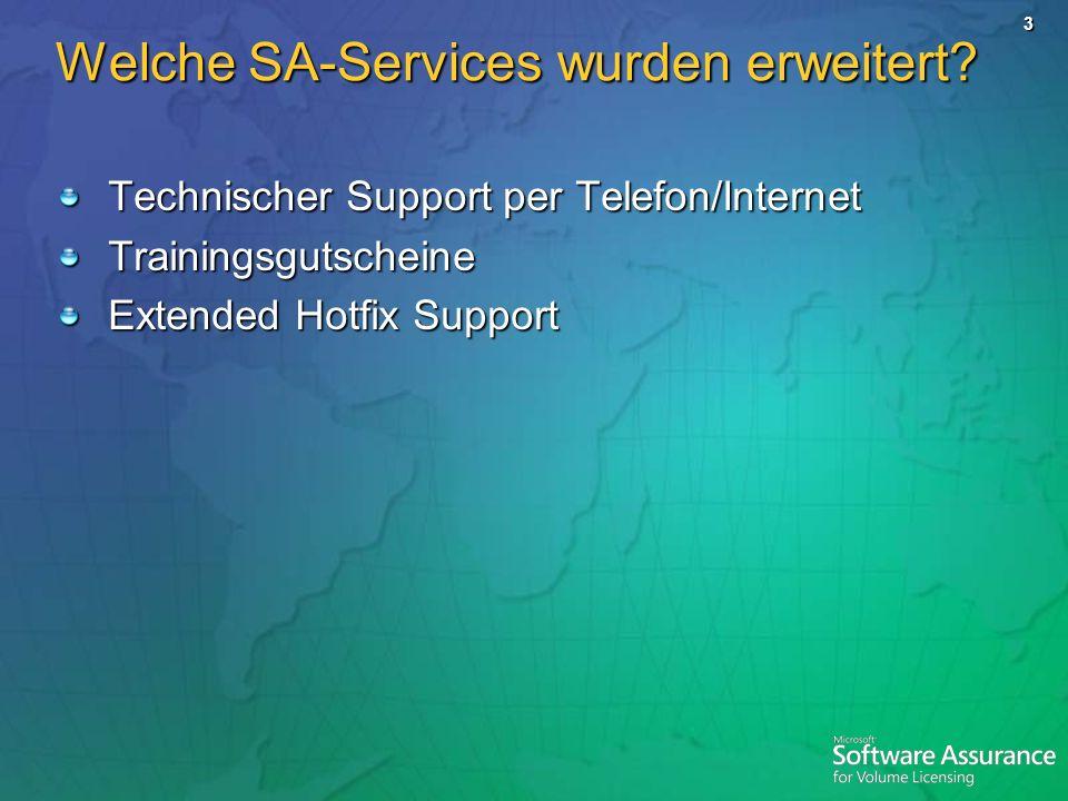 3 Welche SA-Services wurden erweitert? Technischer Support per Telefon/Internet Trainingsgutscheine Extended Hotfix Support