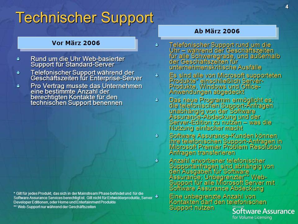 5 Support Merkmale Aktuelles Angebot Ab März 2006 Web-support Anfrage/Produkt- Abdeckung Unbegrenzt für Server mit SA-Abdeckung Keine Änderungen Berechtigte VL- Programme Select und EA Open Value, Select und EA