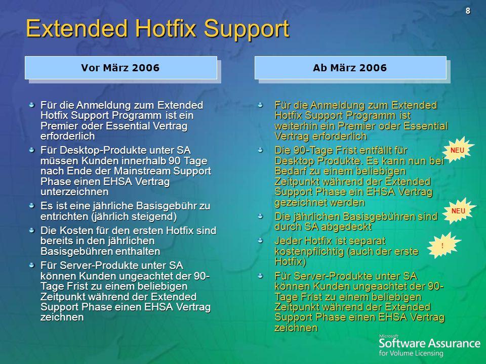 8 Extended Hotfix Support Vor März 2006 Ab März 2006 Für die Anmeldung zum Extended Hotfix Support Programm ist ein Premier oder Essential Vertrag erf