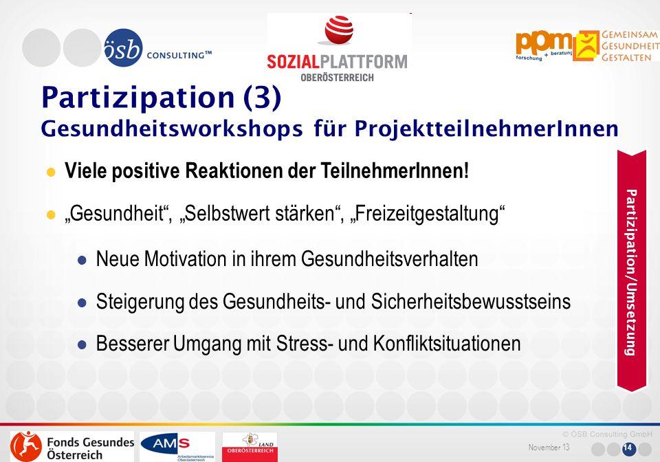 November 13 14 Viele positive Reaktionen der TeilnehmerInnen! Gesundheit, Selbstwert stärken, Freizeitgestaltung Neue Motivation in ihrem Gesundheitsv