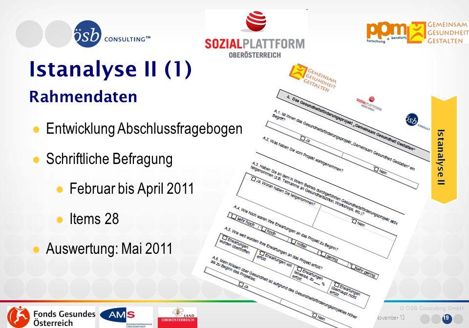 November 13 19 Istanalyse II (1) Rahmendaten Entwicklung Abschlussfragebogen Schriftliche Befragung Februar bis April 2011 Items 28 Auswertung: Mai 20