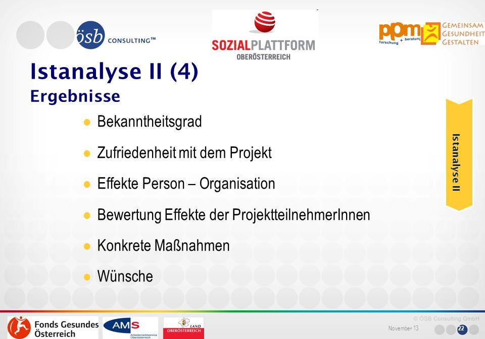 November 13 22 Bekanntheitsgrad Zufriedenheit mit dem Projekt Effekte Person – Organisation Bewertung Effekte der ProjektteilnehmerInnen Konkrete Maßn