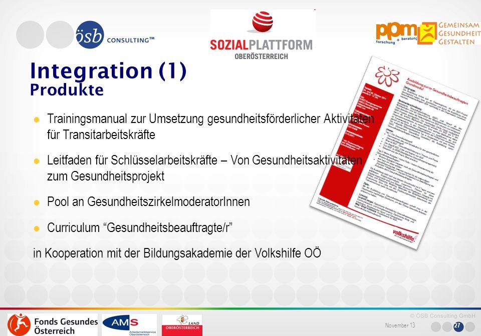 November 13 27 Produkte Integration (1) Trainingsmanual zur Umsetzung gesundheitsförderlicher Aktivitäten für Transitarbeitskräfte Leitfaden für Schlü